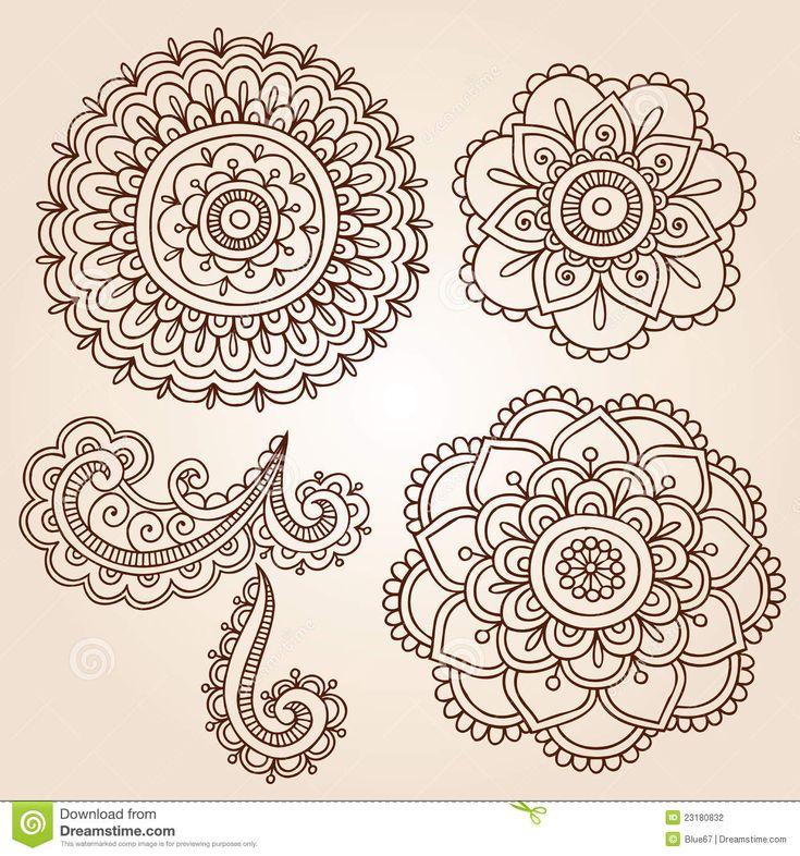 Henna Tattoo Flower Mandala Doodle Vector Designs Stock Photography - Image: 23180832
