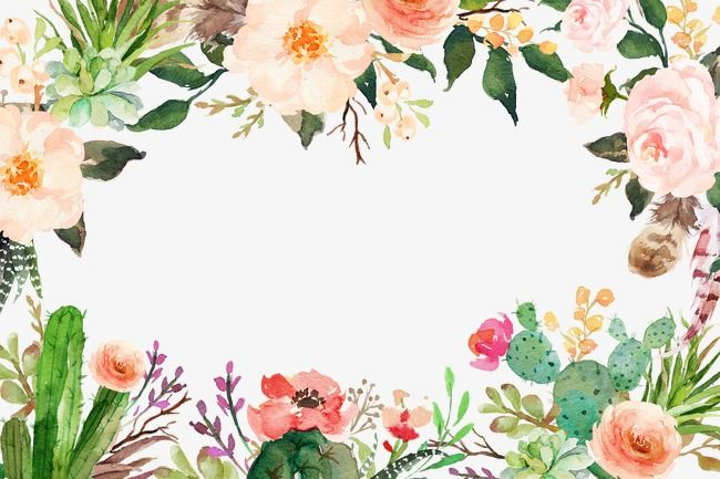 Watercolor Flowers Flowers Border, Watercolor Clipart