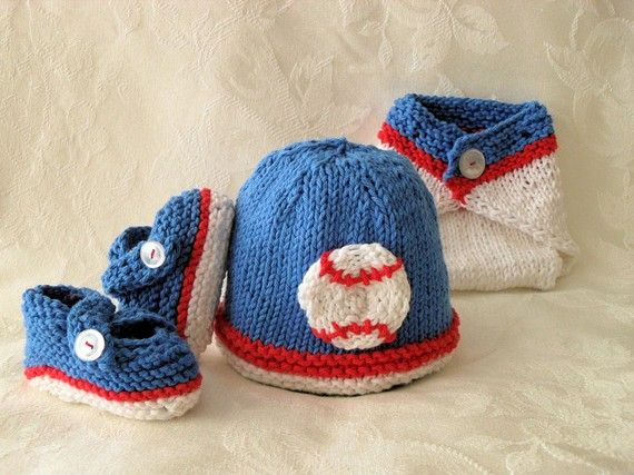 Cotton Knitted Baseball Baby Hat World Series by CottonPickings