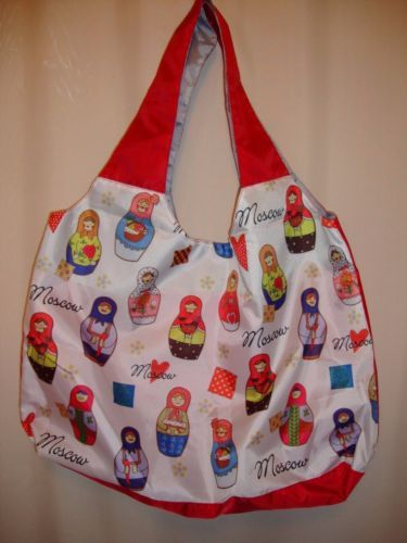 This beautiful bag patterned with Russian Matryoshka inscription, Moscow, perfect for shopping or going to the beach.  MADE IN RUSSIA, MOSCOW. #bag #bags #russian #russiansouvenirs #russianbags