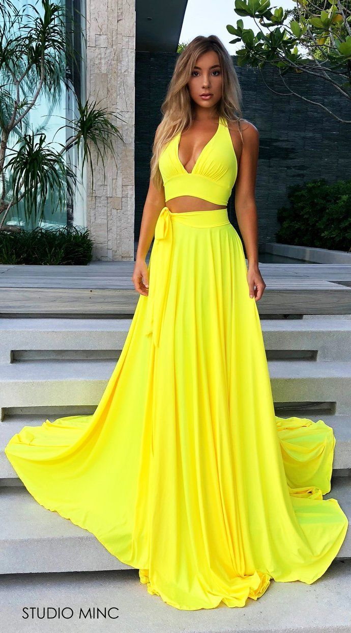 Bright Yellow Spandex Deep V Neck Two Pieces Split Prom Dresses Open ...