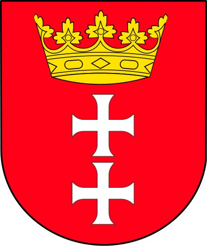 Coat Of Arms of Gdansk The red background is connected to the King Casimir IV Jagiellon chartering the privilege of using red wax to the authorities of Gdansk. At that time also the king crown was added. The white crosses are the symbols of Hanseatic League and Christianity.