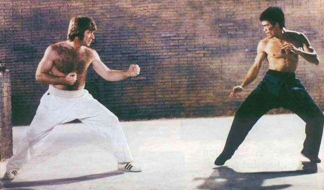 Bruce Lee vs Chuck Norris in Return of The Dragon. For some reason it was called Way Of The Dragon in every country in the world except here in the U.S.