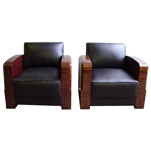 Pair of Art Deco Chairs in Black Leather, France 1900-1950 #6404