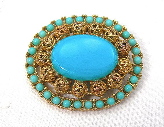 Vintage 60s Cathe' Tiered Brooch, Etruscan Style, Faux Persian Turquoise, Goldtone Filigree Balls Setting, Plastic Stones, Costume Jewelry #GotVintage #Vintage #Jewelry