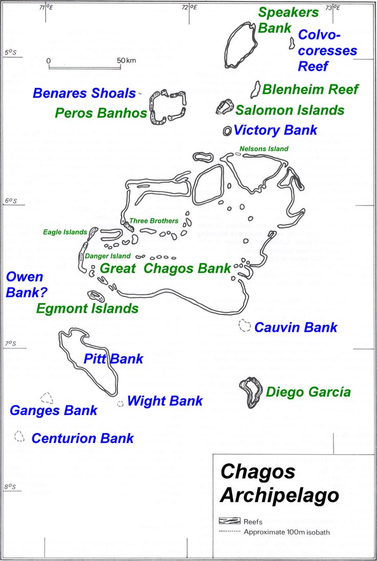 The Chagos Archipelago. (Atolls with areas of dry land are named in green)