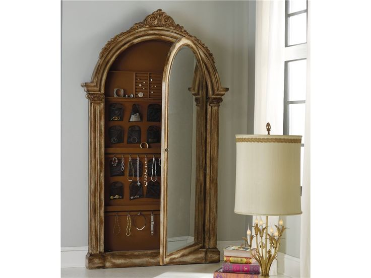 With Its Classical, Sculptured Design And Antique Gold Leaf Finish, The  Vera Floor Mirror With Jewelry Armoire Storage ...