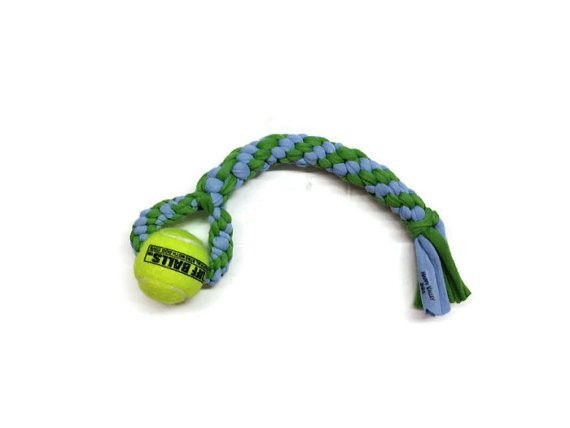 Tennis Ball Tee Tug - Upcycled & USA Made Dog Toy-Available in two sizes-$17.95 | www.activedogtoys.com #durable_toy #dog_tug_toys