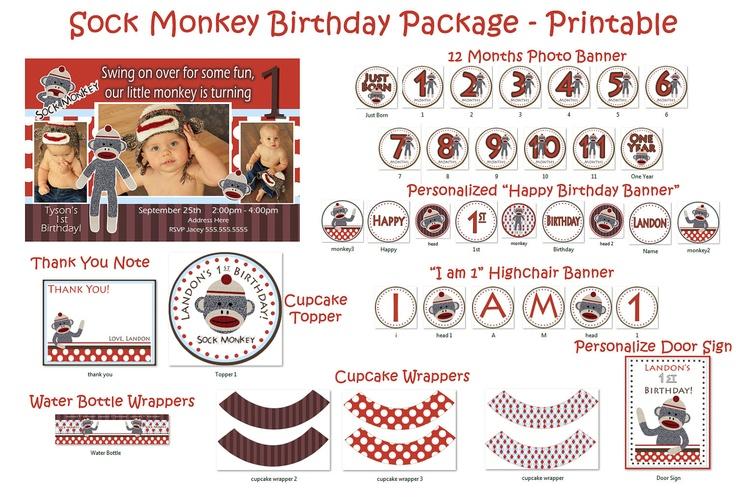 Sock Monkey Birthday Party   Sock Monkey by JRCreativeDesigns, $39.99