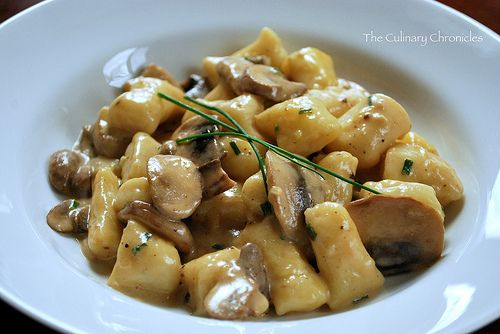 gnocchi with mushroom cream sauce.. make the sauce, buy the gnocci from the store ;)