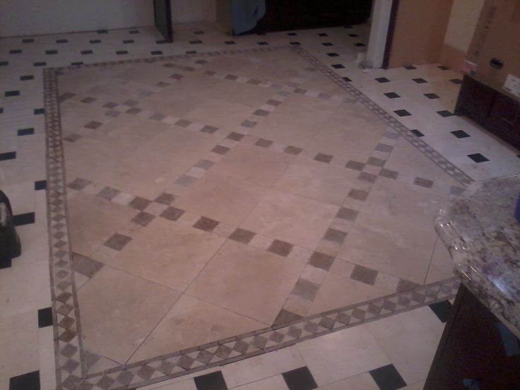 16x16 Travertine Tile With 4x4 Marble Border Around Installation Of 12x12 Black Marble W Pattern Ove Ceramic Tile Bathrooms Ceramic Floor Tiles Travertine Tile