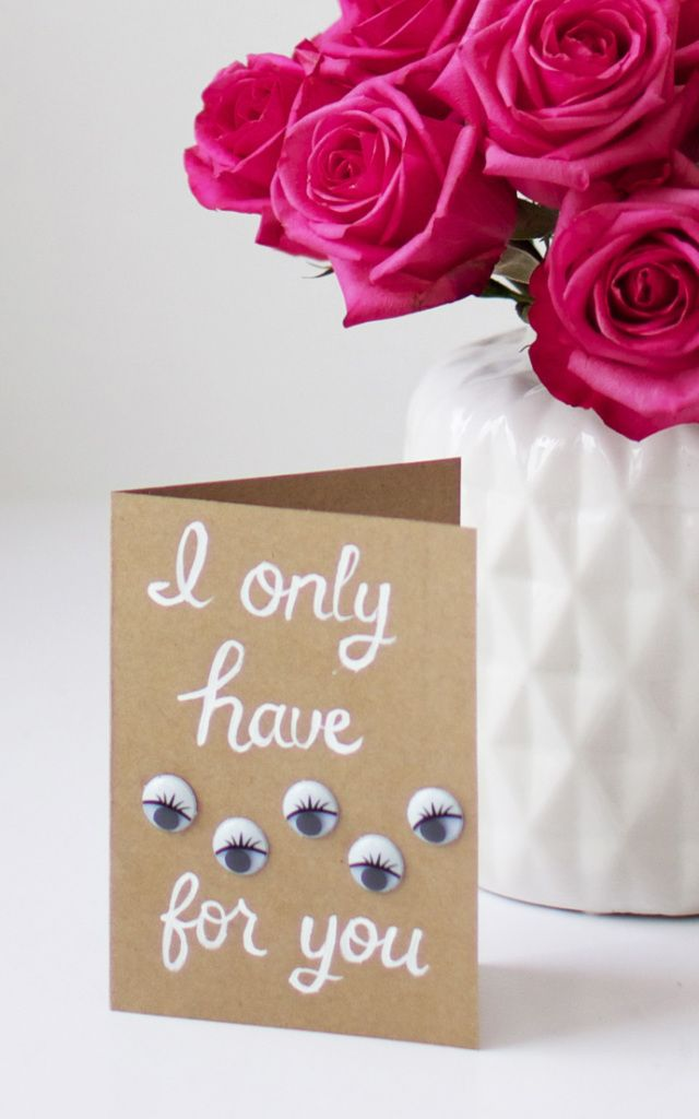 """#DIY """"I Only Have Eyes For You"""" Valentine's Day Card"""