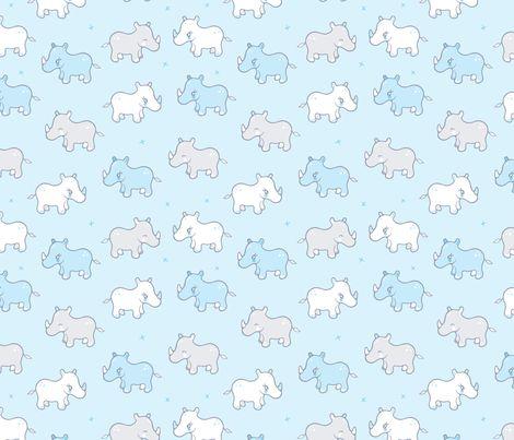 Rhinos in a row fabric by nossisel on Spoonflower - custom fabric