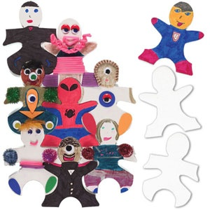 Interlocking Kids Puzzle Kit - Kid-shaped puzzle pieces are easy to decorate because they accept nearly every art medium and can instantly create a charming display. Great for thematic units: Welcome Back to School, All About Me, 100th Day of School, Birthdays, multi-cultural awareness and more.