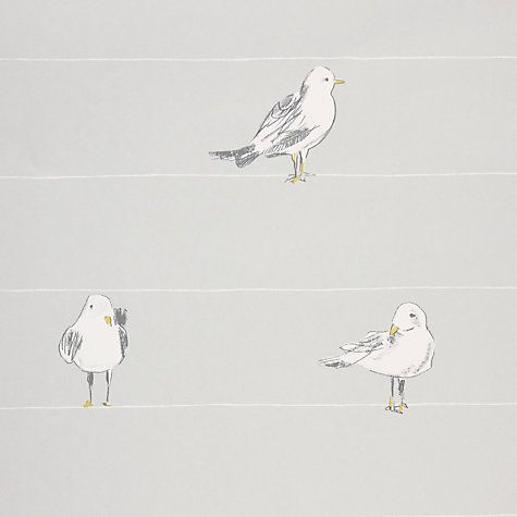 John Lewis Seagulls Wallpaper, Blue Grey Online at johnlewis.com