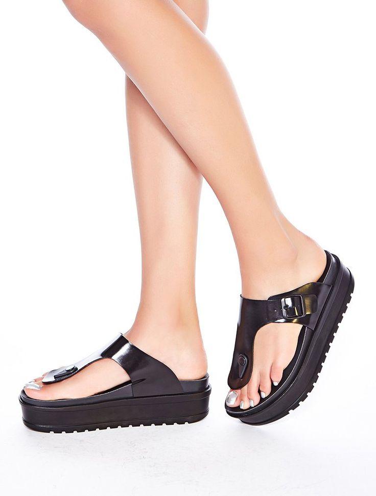 SANDALET / TERLİK Jersey Siyah Mat Rugan Kalın Taban Parmak Arası Sandalet