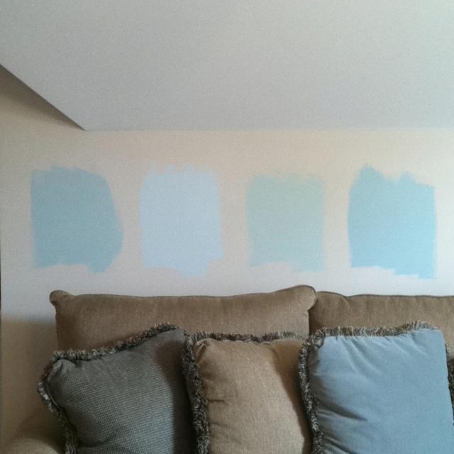 Benjamin Moore Interior Paint, (L-R): Woodlawn Blue, Glass