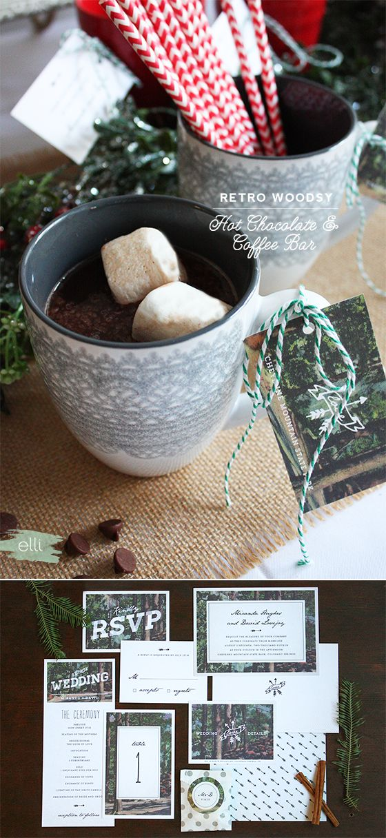 Retro Woodsy Hot Chocolate Bar & Coffee Sleeves | Elli.com