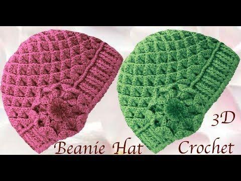 Gorro a Crochet con flor punto cocodrilo en 3D tejido tallermanualperu - YouTube