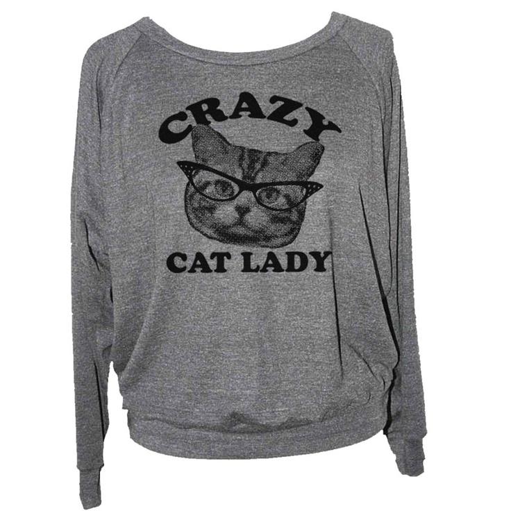 Cat Lady Raglan Womens Gray by Skip N' Whistle