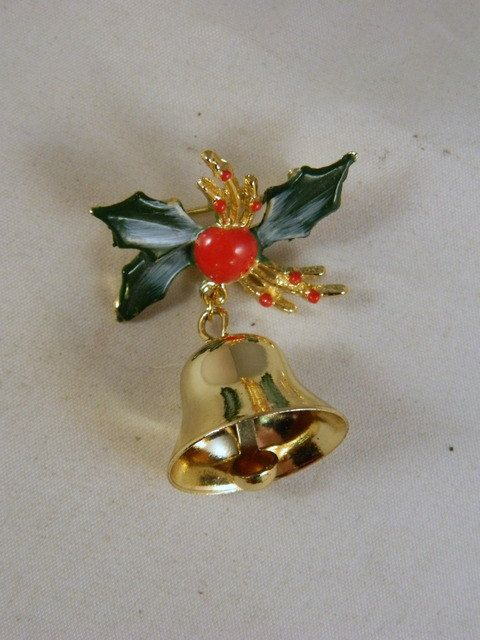 Vintage Christmas Bell Brooch / Mistle Toe and Holly Berries Holly Leaf Holiday Pin by VintageBaublesnBits on Etsy