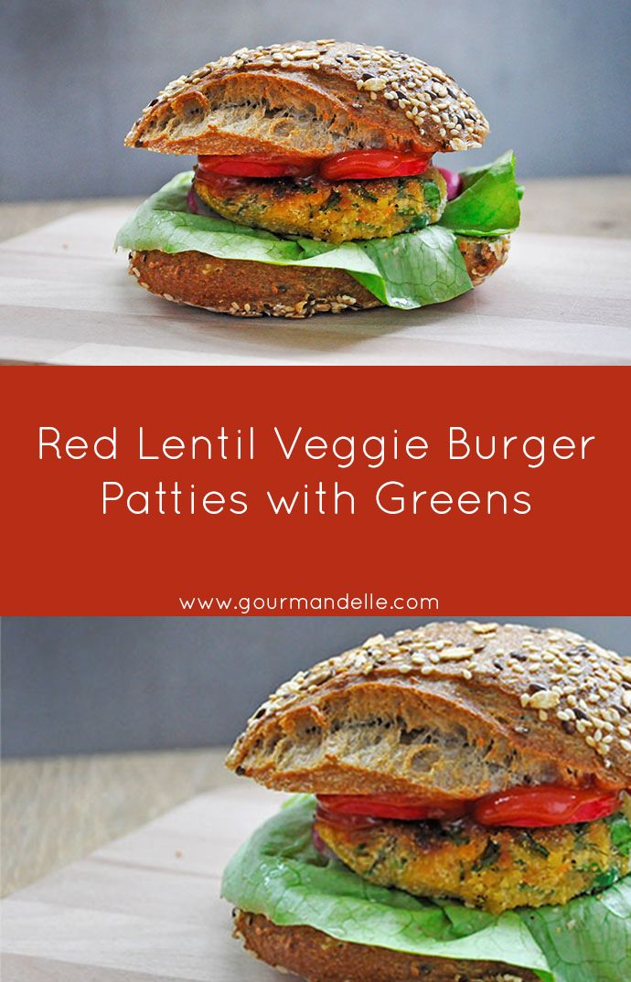 This red lentil veggie burger patties recipe is one of my favorite vegan patties recipes, because it's not only super-easy to make but very versatile and delicious too! | gourmandelle.com | #lentils #burgers #vegetarian