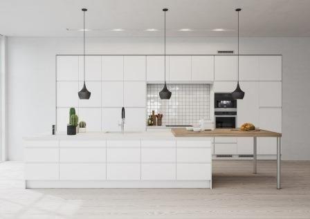 Tämä keittiö on moderni klassikko: puhtaat pinnat ja pelkistetyt linjat luovat tyylikkään tilan. Puinen työtaso murtaa valkoista ja antaa kodikkaan tunnelman. Valkoisen Integra-keittiön tyylikkäissä kaapeissa ei ole vetimiä, ja erilaiset työtasot valitsemalla voit luoda keittiöön persoonallista ilmettä.