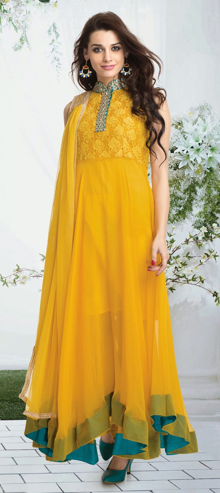 422736: Yellow color family stitched Anarkali Suits.