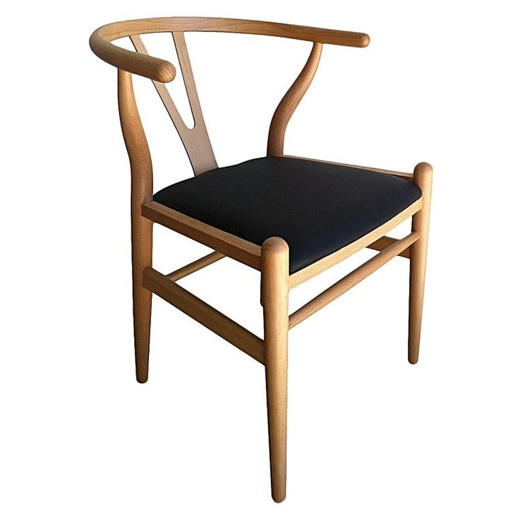 Add comfort to a timeless classic with the padded seat of the Replica Hans Wegner Wishbone Chair, Black Leather from Calibre.