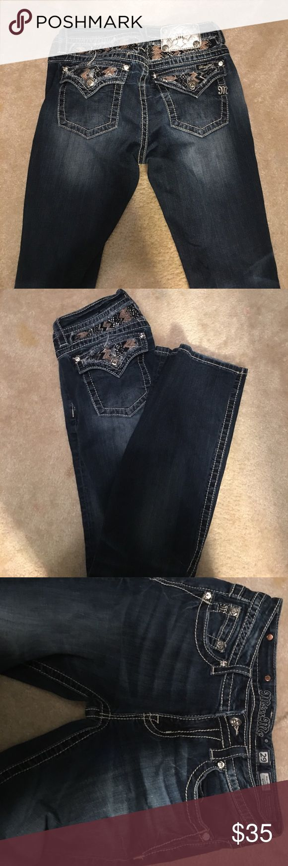 Miss mes boot cut jeans Dark washed jeans size 29 Miss Me Jeans Boot Cut