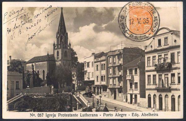 Rio Grande do Sul - Porto Alegre, Igreja Protestante Lutherana - Cartão Postal antigo original, nº 057, editado por Abelheira, circulado em 1935.