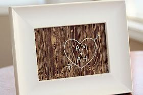 I love this take on carving initials into wood..would have been a cute valentines day gift.