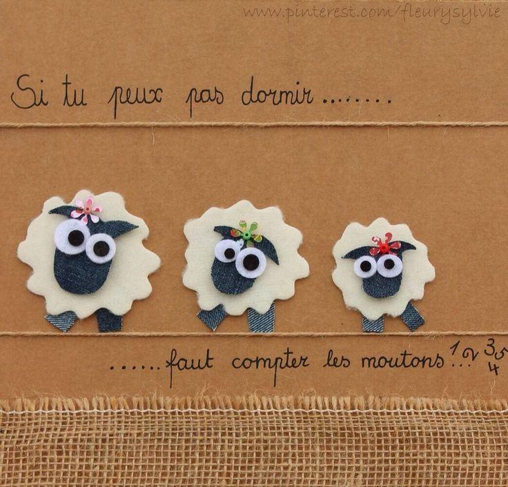 Si tu peux pas dormir...faut compter les moutons ! #jeans #recycle. http://pinterest.com/fleurysylvie/mes-creas-la-collec/ et www.toutpetitrien.ch