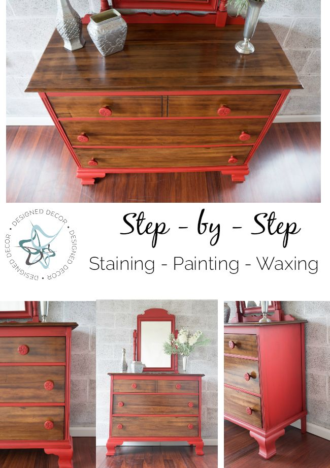 step-by-step- stripping-staining-painting-waxing-furniture- Designed Decor