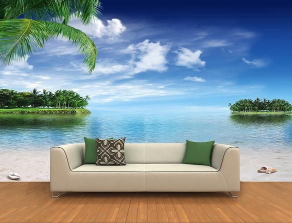 free hd wall sticker 3d coco beach blue sky see wallpapers download