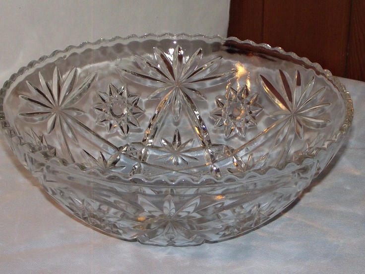 Antique Pressed Glass Star of David Serving Bowl