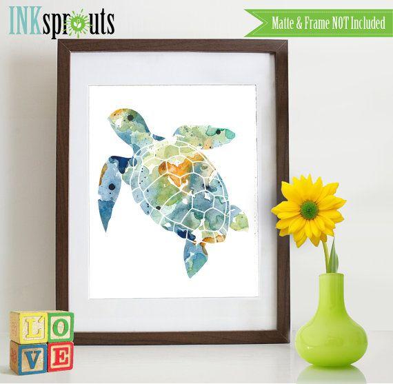 Watercolor Sea Turtle Print, Watercolor silhouettes, Sea Life, Beach theme, Nursery Print, Ocean print, Under the Sea, Item  WC008A