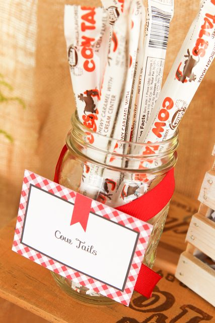 Cow tails for a farm party. Printables and party styling by www.gobrandyourself.etsy.com