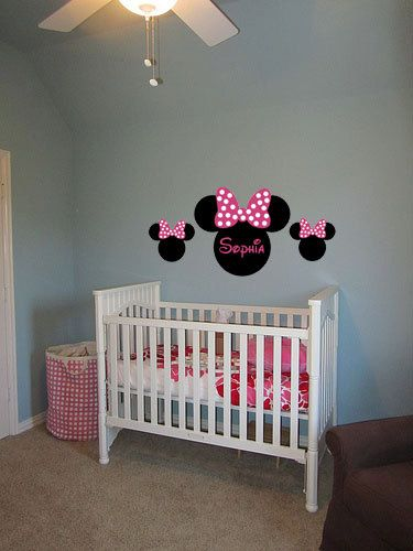 Minnie Mouse Ears Name PERSONALIZED 50x24 Vinyl Wall Lettering Words Quotes  Decals Art Custom. $49.95