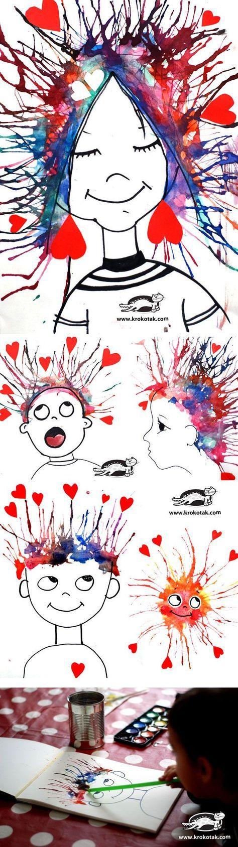 """Peinture liquide à déposer sur le papier puis à projeter vers le haut à l'aide d'une paille ('I'm crazy in love with you"""" ( haren:door een rietje ecoline te blazen)"""