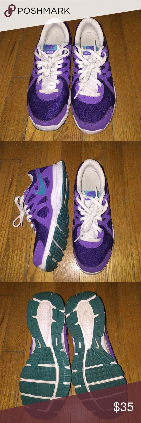 Nike revolution 2 running sneaker Adorable purple and teal running sneakers. I wore them twice. I threw out the original box (for space) Nike Shoes Sneakers