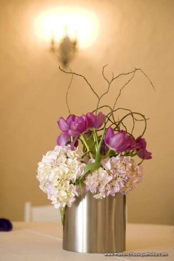 Soft Purple Hydrangea and Tulip Centerpiece with Curly Willow in Small Silver Vase - The French Bouquet - Candi Coffman Photography