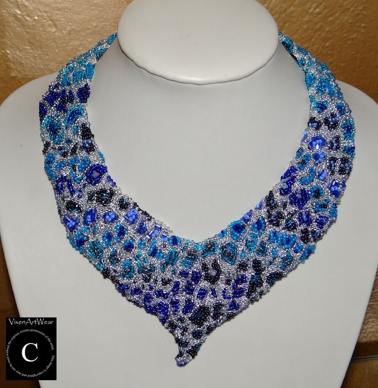 #Blue #Cheetah #Beaded #Collar #Necklace, #jewelry, #women, #bead, #handmade, #Canada.