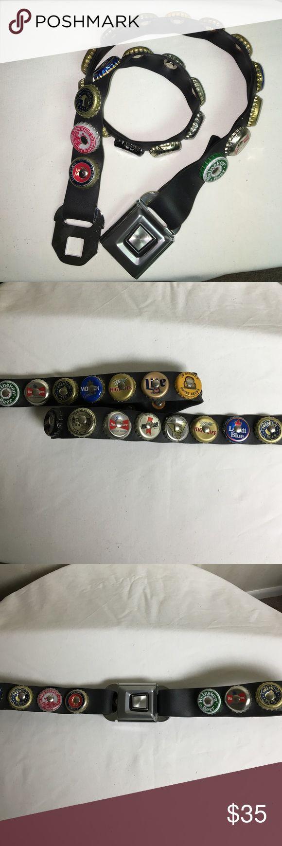 "Vintage unisex belt Seat belt bottle cap belt. Approx 17 1/2"" when buckled. Accessories Belts"