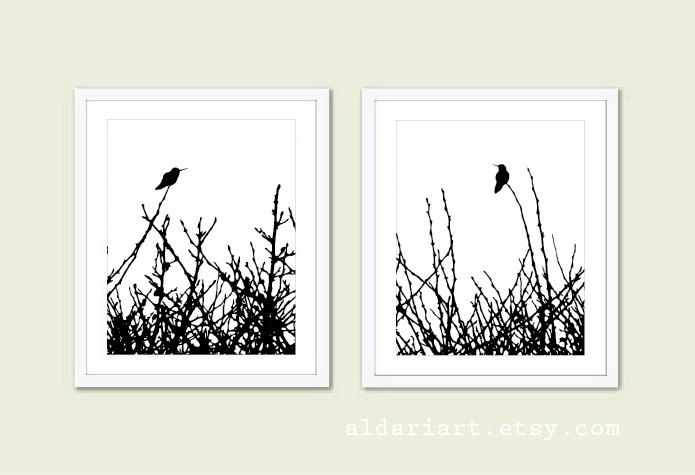 Hummingbirds and Branches Print Set - Black and White Minimalist Birds Wall Art - Woodland - Spring Summer Home Bird on Twig Decor by AldariArt on Etsy