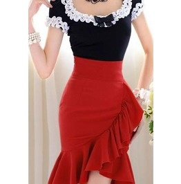 Red Falbala Fibre Women's Skirt Pin-up Flair  OMG I LOVE this!!! It's absolutely amazingly beautiful!!! I so want it! <3