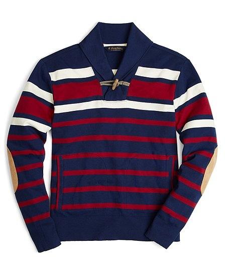 Engineer Stripe Shawl Collar Toggle Pullover - Brooks Brothers