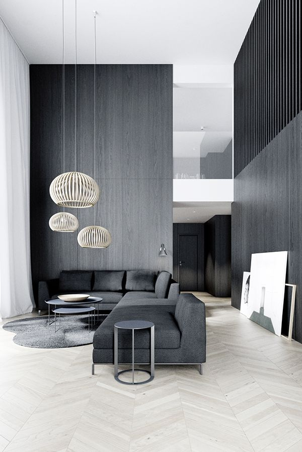 Contemporary | dark | living | room | Double | volume | parquet flooring | Interior Design
