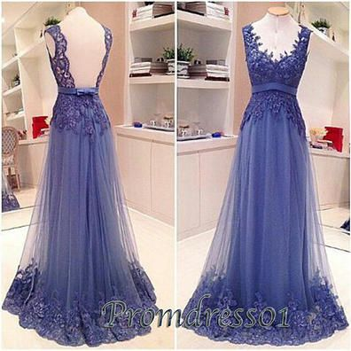 2015 elegant sweetheart straps open back blue lace tulle modest long prom dress for teens, ball gown, homecoming dress, evening dress, grad dress #promdress #prom2015