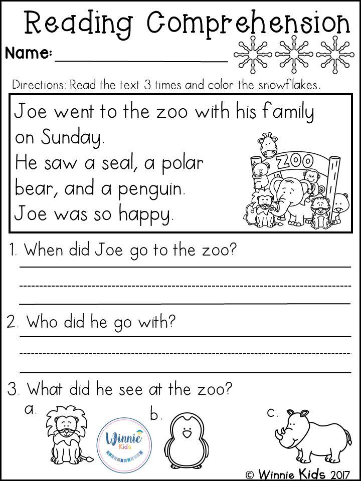 Kindergarten Reading Comprehension Passages Winter